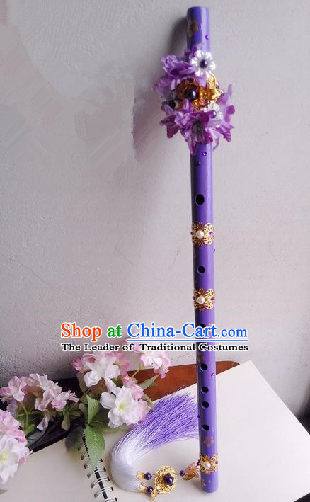Traditional Handmade Chinese Ancient Purple Flowers Gradient Tassel Flute for Women