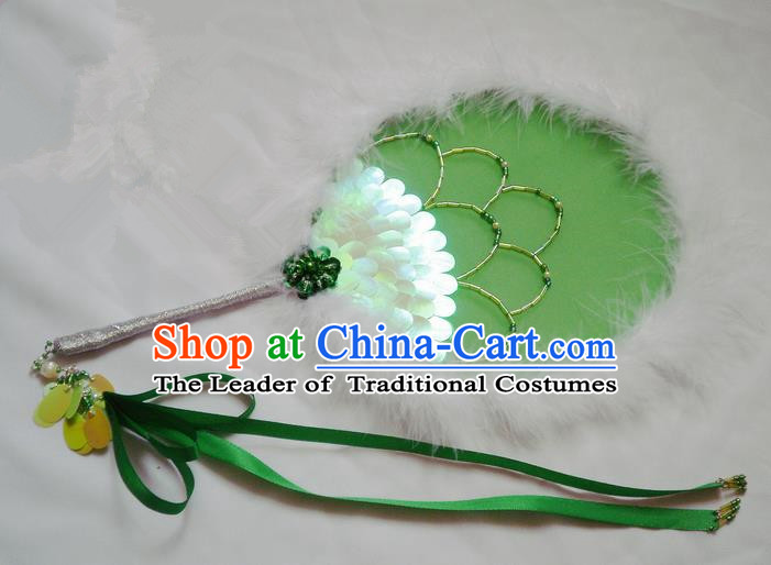 Traditional Chinese Handmade Ancient Hanfu Green Feather Round Fan Props for Women