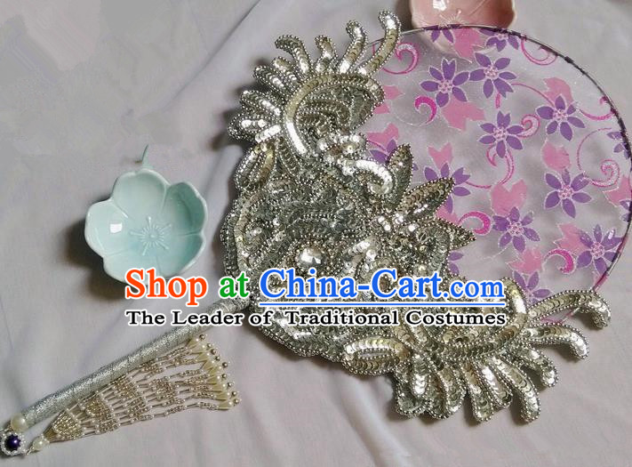 Traditional Chinese Handmade Ancient Hanfu Cosplay Crystal Round Fan Props for Women