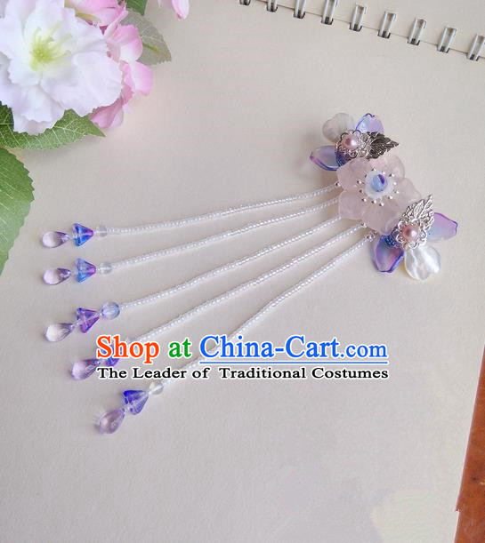 Traditional Handmade Chinese Ancient Classical Hair Accessories Barrettes Hairpin, Pink Crystal Shell Pearl Hair Sticks Hair Jewellery, Hair Fascinators Hairpins for Women