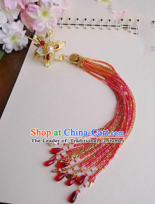 Traditional Handmade Chinese Ancient Classical Red Hair Accessories, Hair Sticks Butterfly Hair Jewellery, Hair Fascinators Hairpins for Women