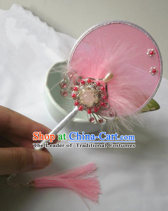 Traditional Chinese Handmade Ancient Hanfu Cosplay Pink Feather Round Fan Props for Women