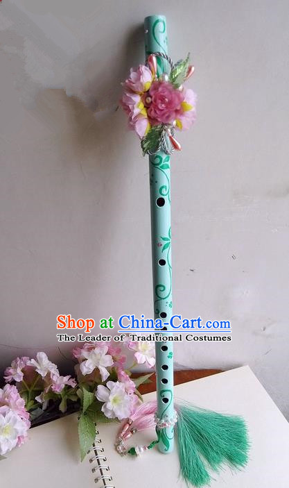 Traditional Handmade Chinese Ancient Green Flowers Gradient Tassel Flute for Women