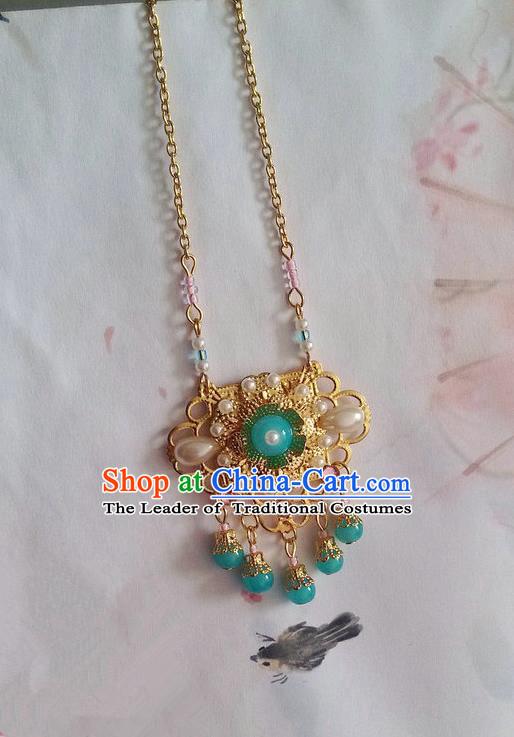 Traditional Handmade Chinese Ancient Classical Accessories Necklace Light Blue Pearl Longevity Lock for Women