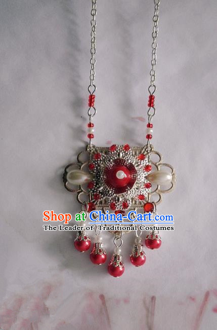 Traditional Handmade Chinese Ancient Classical Accessories Necklace Red Pearl Longevity Lock for Women