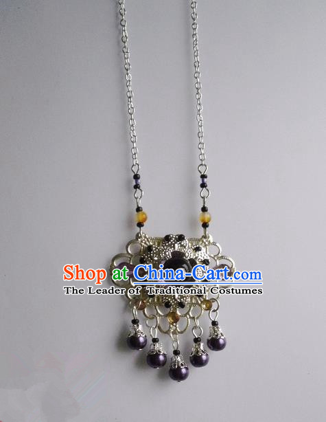 Traditional Handmade Chinese Ancient Classical Accessories Necklace Purple Longevity Lock for Women