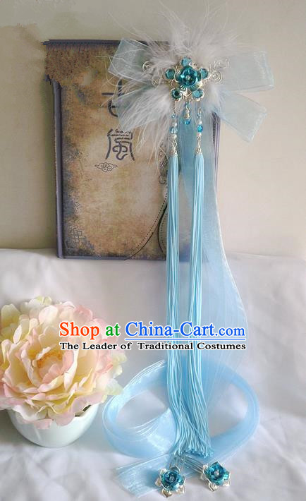 Traditional Handmade Chinese Ancient Classical Hair Accessories Barrettes Hairpin, Blue Flowers Bowknot Hair Sticks Hair Jewellery, Hair Fascinators Hairpins for Women