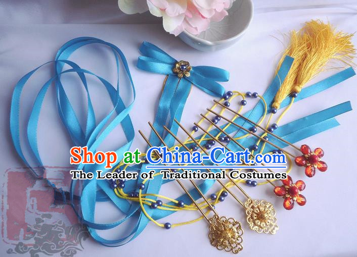 Traditional Handmade Chinese Ancient Classical Blue Bowknot Hair Accessories Complete Set, Hair Sticks Tassel Hair Jewellery, Hair Fascinators Hairpins for Women
