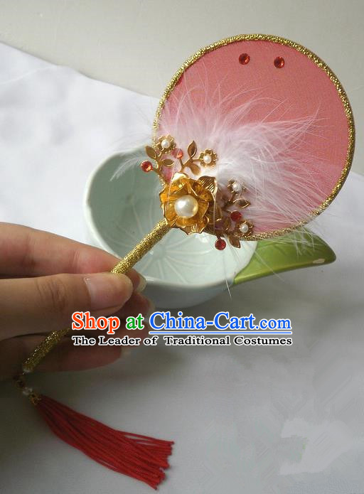 Traditional Chinese Handmade Ancient Hanfu Pink Plush Little Fan Props
