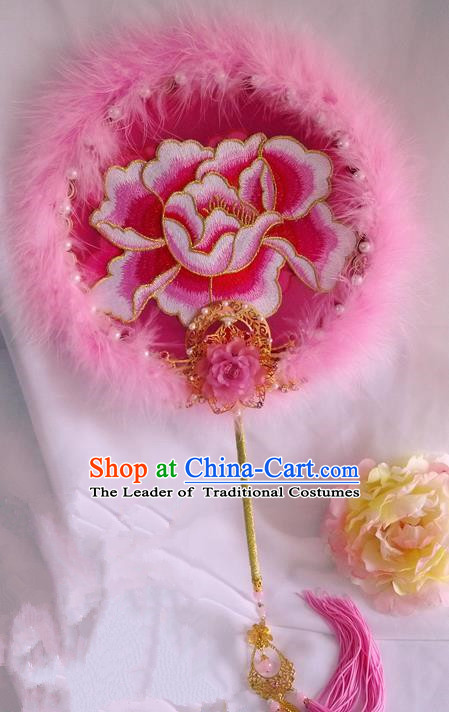 Traditional Chinese Handmade Ancient Hanfu Cosplay Round Embroidered Peony Fan Props for Women