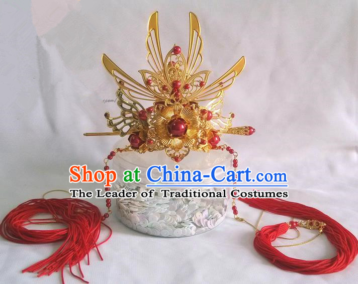 Traditional Handmade Chinese Ancient Classical Hair Accessories Male Wedding Hairdo Crown, Hair Sticks Hair Jewellery, Hair Tassel Hairpins for Men