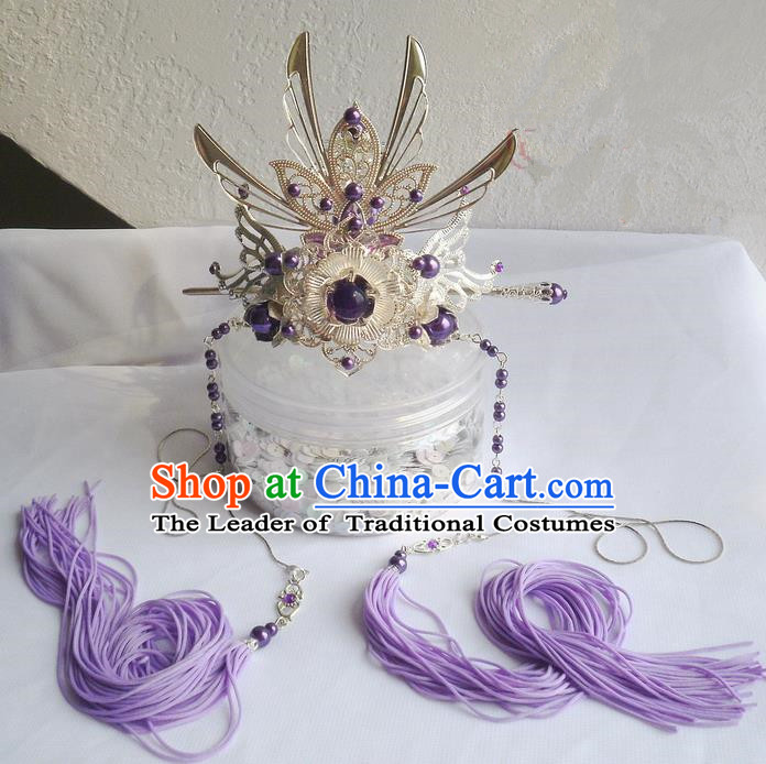 Traditional Handmade Chinese Ancient Classical Hair Accessories Male Hairdo Crown, Hair Sticks Hair Jewellery, Hair Tassel Hairpins for Men