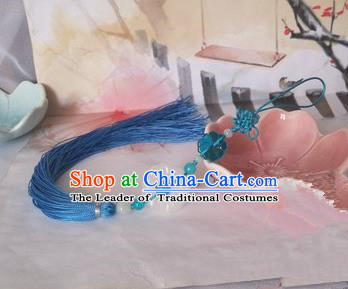 Traditional Chinese Handmade Ancient Hanfu Waist Jewelry Jade Wearing Blue Agate Chinese Knot Pendant Sword Tassel for Men