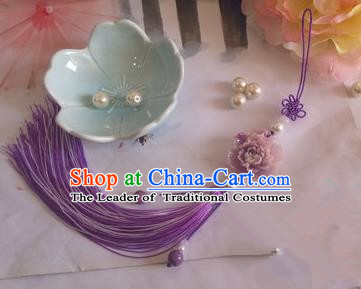 Traditional Chinese Handmade Ancient Hanfu Waist Jewelry Jade Wearing Purple Agate Chinese Knot Pendant Sword Tassel for Men