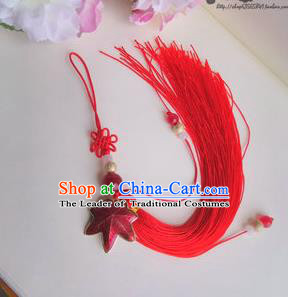 Traditional Chinese Handmade Ancient Hanfu Waist Jewelry Belt Wearing Cloisonne Maple Leaf Pendant Sword Tassel for Men