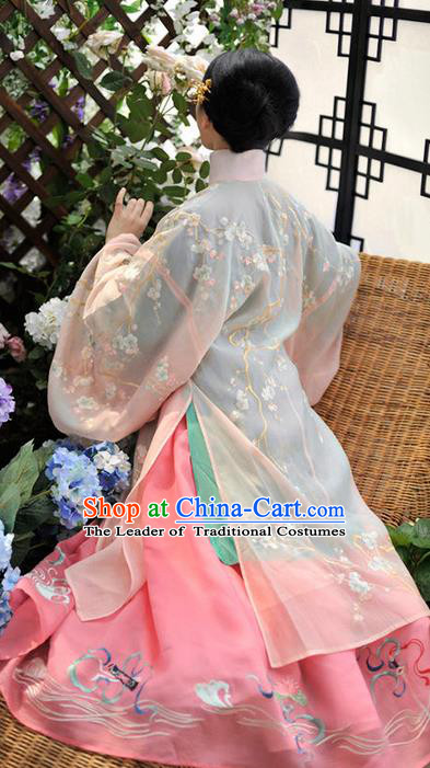 Traditional Ancient Chinese Female Costume Cardigan Blouse and Dress Complete Set, Elegant Hanfu Clothing Chinese Qing Dynasty Palace Princess Embroidered Clothing for Women