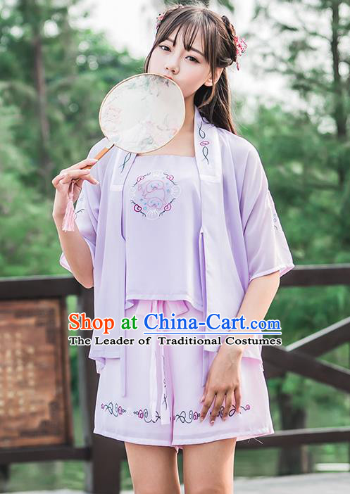 Traditional Ancient Chinese Female Costume Improved Blouse and Shorts Complete Set, Elegant Hanfu Clothing Chinese Song Dynasty Palace Princess Embroidered Clothing for Women