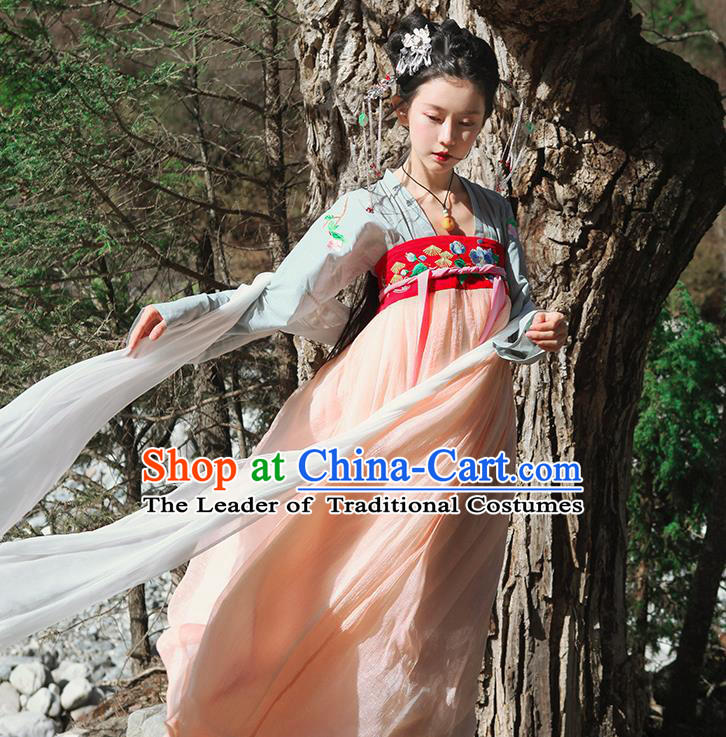 Traditional Ancient Chinese Female Costume Blouse and Dress Complete Set, Elegant Hanfu Clothing Chinese Tang Dynasty Embroidering Flower Palace Princess Clothing for Women