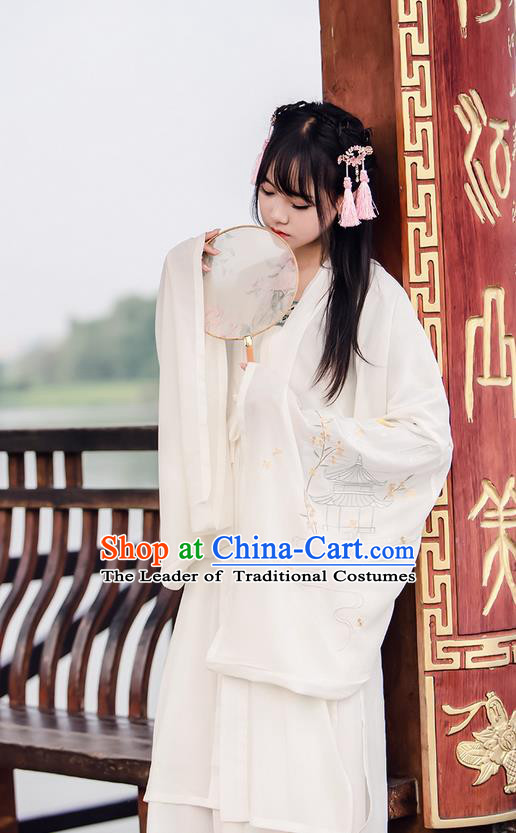 Traditional Ancient Chinese Female Costume Wide Sleeve Cardigan, Elegant Hanfu Clothing Chinese Tang Dynasty Embroidering Pavilions Palace Princess Clothing for Women
