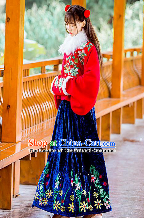 Traditional Ancient Chinese Female Costume Woolen Red Blouse and Blue Dress Complete Set, Elegant Hanfu Clothing Chinese Ming Dynasty Palace Princess Embroidered Clothing for Women