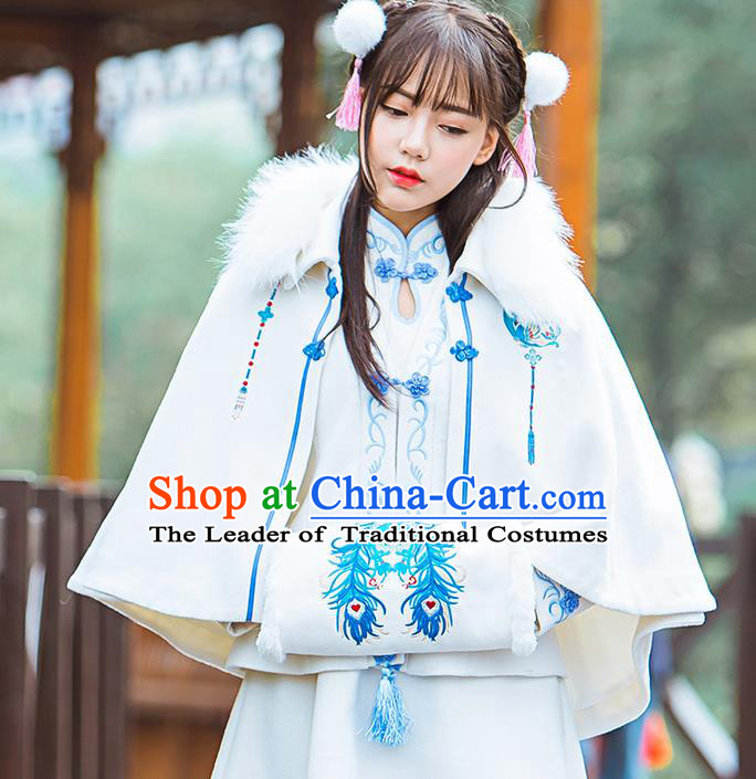 Traditional Ancient Chinese Female Costume Woolen Blue and White Porcelain Cardigan, Elegant Hanfu Short Cloak Chinese Ming Dynasty Palace Lady Embroidered Hooded Cape Clothing for Women