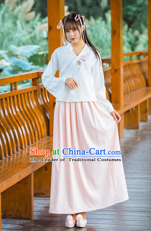 Traditional Ancient Chinese Female Costume Blue Blouse and Pink Dress Complete Set, Elegant Hanfu Clothing Chinese Ming Dynasty Palace Princess Embroidered Clothing for Women