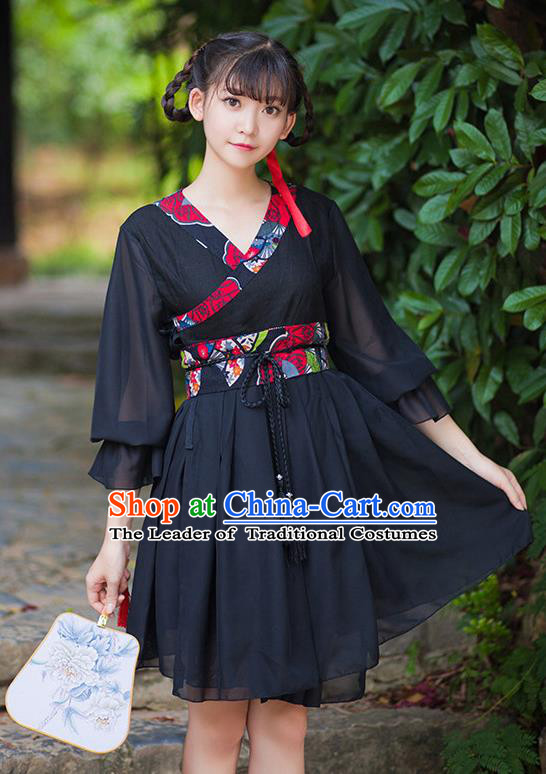 Traditional Ancient Chinese Female Costume Improved Black Dress Complete Set, Elegant Hanfu Clothing Chinese Ming Dynasty Palace Princess Clothing for Women