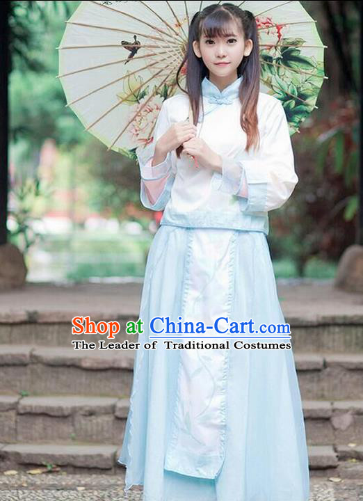Traditional Ancient Chinese Female Costume Improved Stand Collar Blouse and Dress Complete Set, Elegant Hanfu Clothing Chinese Ming Dynasty Palace Princess Clothing for Women