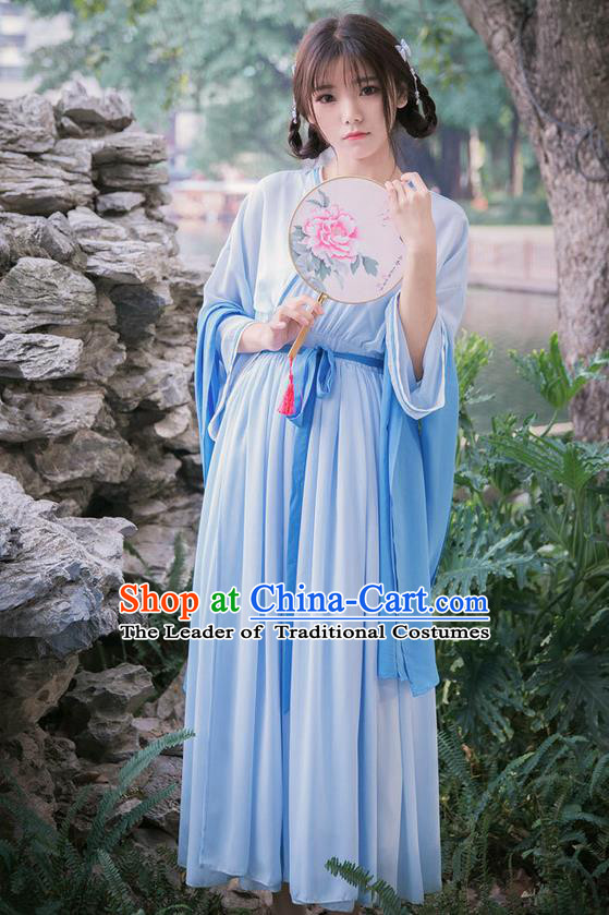 Traditional Ancient Chinese Female Costume Slant Collar Dress, Elegant Hanfu Clothing Chinese Wei Dynasty Palace Princess Clothing for Women