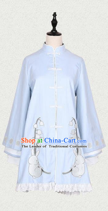 Traditional Ancient Chinese Female Costume Blue Long Blouse, Elegant Hanfu Clothing Chinese Song Dynasty Palace Princess Embroidered Convallaria Majalis Coat for Women