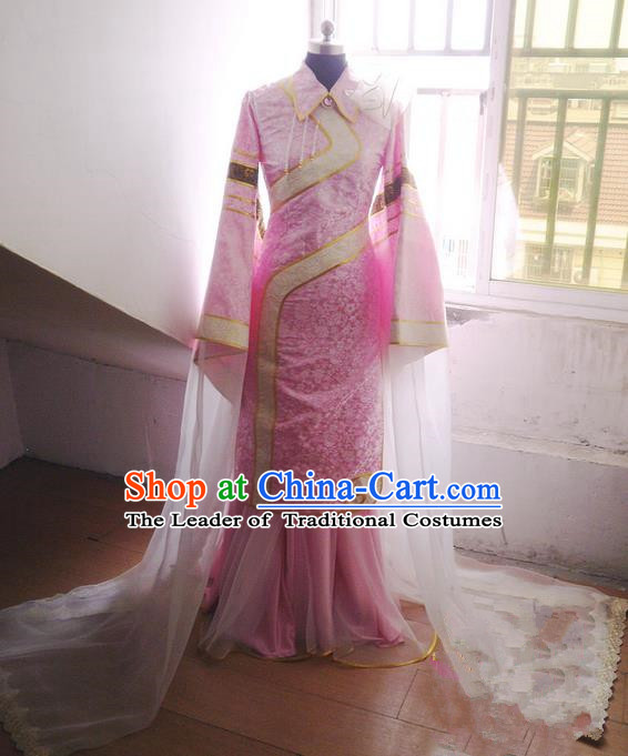 Traditional Ancient Chinese Imperial Consort Costume Cheongsam, Elegant Hanfu Clothing Chinese Qing Dynasty Manchu Imperial Empress Cosplay Fairy Tailing Embroidered Cheongsam for Women