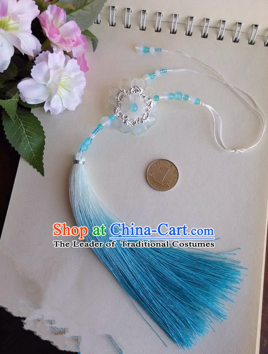 Traditional Chinese Handmade Ancient Hanfu Waist Jewelry Jade Wearing Blue Glass Flowers Pendant Sword Tassel for Women