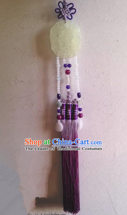 Traditional Chinese Handmade Ancient Hanfu Waist Jewelry Jade Wearing Purple Agate Flowers Pendant Sword Tassel for Women