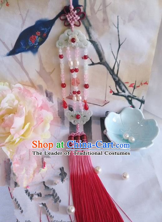 Traditional Chinese Handmade Ancient Hanfu Waist Jewelry Jade Wearing Red Palace Agate Pendant Sword Tassel for Women