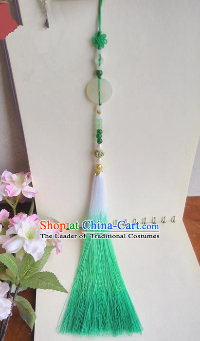 Traditional Chinese Handmade Ancient Hanfu Waist Jewelry Jade Wearing Palace Agate Pendant Green Gradient Sword Tassel for Women