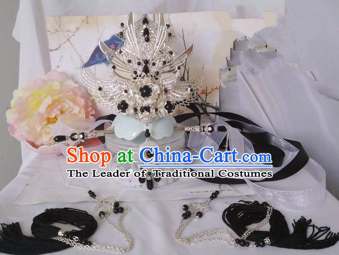 Traditional Handmade Chinese Ancient Prince Classical Hair Accessories Male Swordsman Hairdo Crown, Hair Sticks Hair Jewellery, Hair Tassel Hairpins for Men