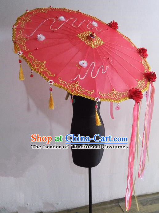 Traditional Chinese Handmade Ancient Hanfu Dance Red Umbrella Props for Women