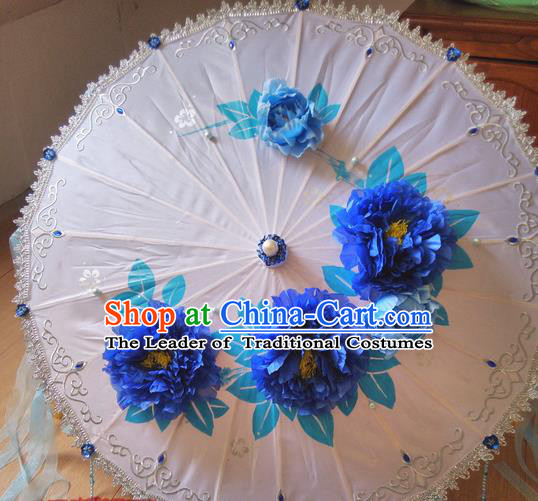 Traditional Chinese Handmade Ancient Hanfu Dance Blue Flowers Umbrella Props for Women