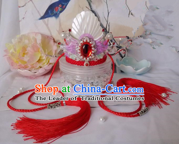 Traditional Handmade Chinese Ancient Prince Classical Hair Accessories Male Swordsman Wedding Hairdo Crown, Hair Sticks Hair Jewellery, Hair Tassel Hairpins for Men
