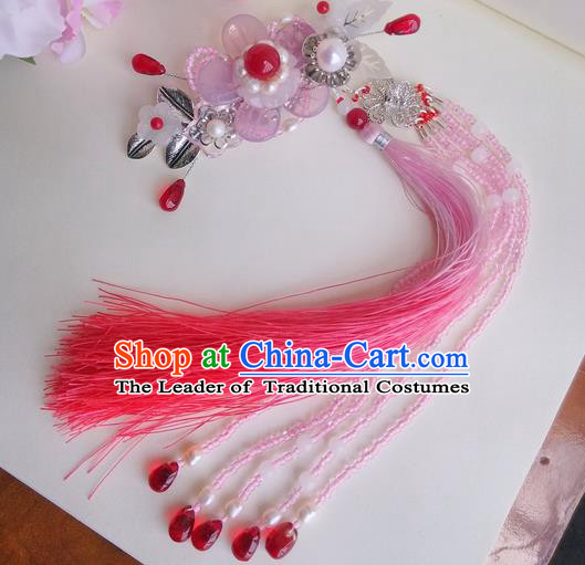 Traditional Handmade Chinese Ancient Princess Classical Accessories Jewellery Pure Copper Coloured Glaze Hair Sticks Hair Claws, Hair Fascinators Hairpins for Women