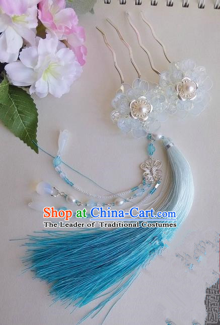 Traditional Handmade Chinese Ancient Princess Classical Accessories Jewellery Pure Copper Coloured Glaze Hair Sticks Hair Claws, Blue Tassels Hair Fascinators Hairpins for Women
