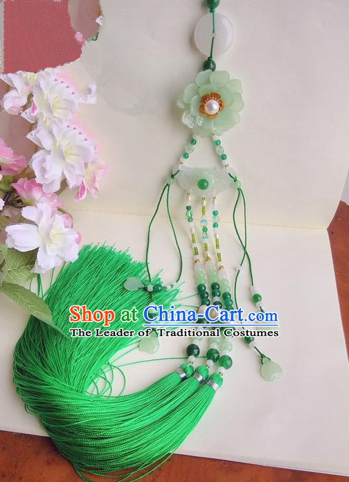 Traditional Chinese Handmade Ancient Hanfu Waist Jewelry Jade Wearing Palace Coloured Glaze Pendant Green Gradient Sword Tassel for Women