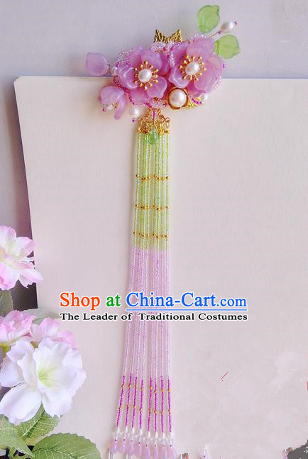 Traditional Handmade Chinese Ancient Princess Classical Accessories Jewellery Coloured Glaze Hair Sticks Hair Jewellery, Pearl Long Tassels Hair Fascinators Hairpins for Women