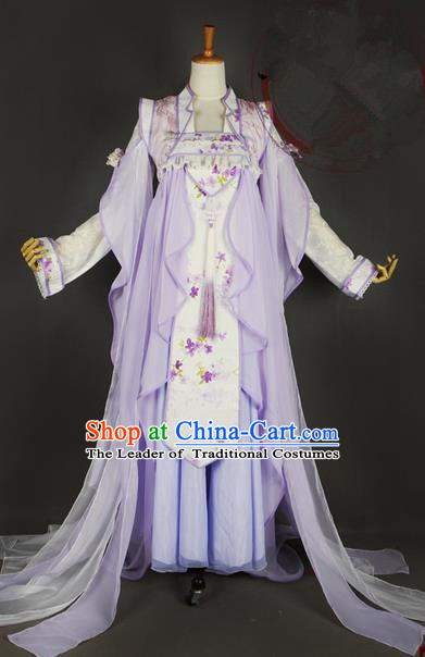 Traditional Ancient Chinese Imperial Consort Lavender Costume, Elegant Hanfu Clothing Chinese Tang Dynasty Imperial Empress Cosplay Fairy Tailing Embroidered Dress for Women