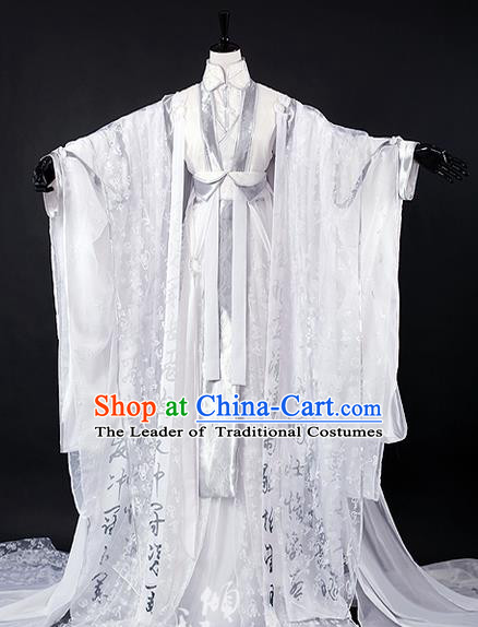 Traditional Ancient Chinese Imperial Emperor Costume Complete Set, Elegant Hanfu Palace King Robe, Chinese Han Dynasty Majesty Tailing Embroidered Clothing for Men