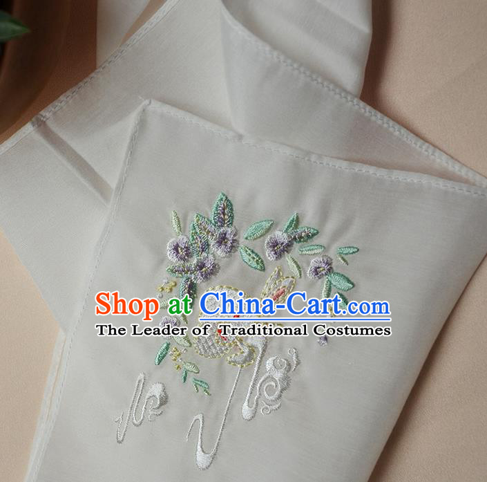 Traditional Ancient Chinese Embroidered Hanfu Handkerchief Embroidered Rabbit White Silk Mocket for Women