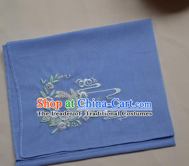 Traditional Ancient Chinese Embroidered Hanfu Handkerchief Embroidered Rabbit Purple Silk Mocket for Women