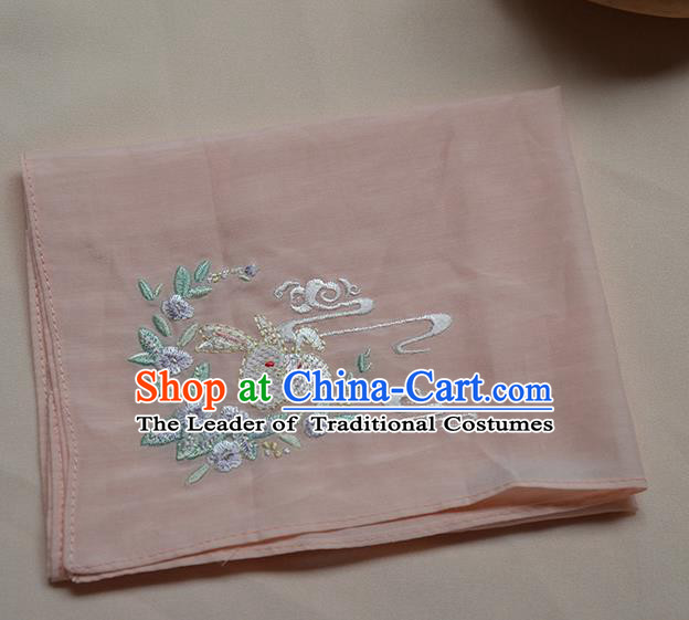 Traditional Ancient Chinese Embroidered Hanfu Handkerchief Embroidered Rabbit Pink Silk Mocket for Women