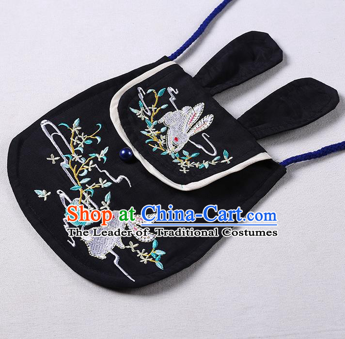 Traditional Ancient Chinese Embroidered Hanfu Handbags Embroidered Rabbit Black Bag for Women