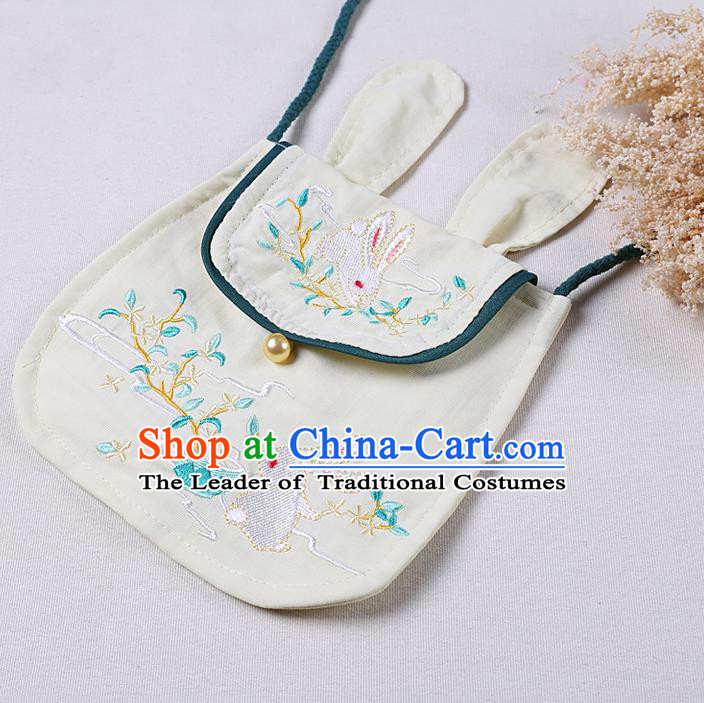 Traditional Ancient Chinese Embroidered Hanfu Handbags Embroidered Rabbit Beige Bag for Women